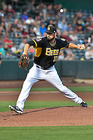 Tyler DeLoach (37) of the Salt Lake Bees delivers a pitch to the plate against the Albuquerque Isotopes in Pacific Coast League action at Smith's Ballpark on August 30, 2016 in Salt Lake City, Utah. The Bees defeated the Isotopes 3-2. (Stephen Smith/Four Seam Images)