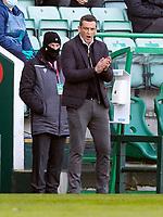 21st April 2021; Easter Road, Edinburgh, Scotland; Scottish Premiership Football, Hibernian versus Livingston; Jack Ross Hibernian Manager shouts encouragement from the touchline