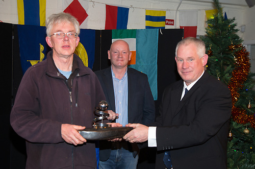 Pat Ryan presented with the Michael Donohue Memorial Trophy for Volunteer of the year by Johnn Shorten Commodore and Captain Brian Sheridan Harbour Master Port of Galway