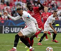 14th September 2021; Sevilla, Spain: UEFA Champions League football,  Sevilla FC versus RB Salzburg;  Youssef En-Nesyri of Sevilla loses out as Oumar Solet of Salzburg cuts the ball back