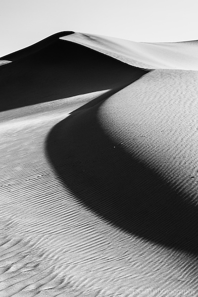 Black and white abstract image of sand dune in Death Valley's Mesquite Dunes