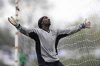 The Mile End FC goalkeeper looks to the heavens during a Hackney & Leyton Sunday League match at Hackney Marshes - 13/04/08 - MANDATORY CREDIT: Gavin Ellis/TGSPHOTO - Self billing applies where appropriate - Tel: 0845 094 6026