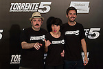 Actors (L-R) Carlos Areces, Angy and Julian Lopez pose during Torrent 5 film presentation at Casino Gran Madrid in Madrid, Spain. September 30, 2014. (ALTERPHOTOS/Victor Blanco)