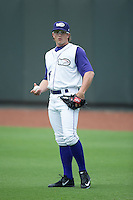 Winston-Salem Dash starting pitcher Carson Fulmer (16) warms up in the outfield prior to the game against the Carolina Mudcats at BB&T Ballpark on July 23, 2015 in Winston-Salem, North Carolina.  The Dash defeated the Mudcats 3-2.  (Brian Westerholt/Four Seam Images)