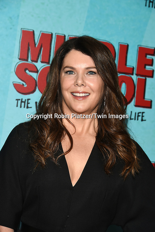 """actress Lauren Graham in Martin Grant black jumpsuit attends the """"Middle School: The Worst Years of My Life"""" New York Screening on October 1, 2016 at the Regal E-Walk in New York, New York, USA.<br /> <br /> photo by Robin Platzer/Twin Images<br />  <br /> phone number 212-935-0770"""