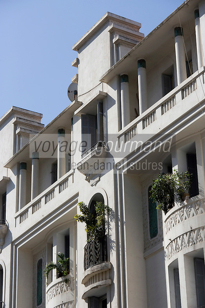 Afrique/Afrique du Nord/Maroc /Casablanca: détail immeuble Art-Déco rue Chenier