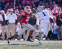 Athens, Georgia - November 29, 2014: The number 8 ranked Georgia Bulldogs lost to the number 16 ranked Georgia Tech Yellow Jackets 30-24 in overtime at Sanford Stadium.