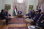 Palestinian president Mahmoud Abbas meets with A delegation of Egyptian journalists, in the West Bank city of Ramallah on September 1, 2021. Photo by Thaer Ganaim