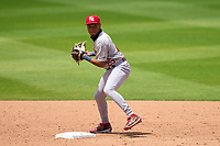 Palm Beach Cardinals second baseman Donivan Williams (25) throws to first during a game against the Bradenton Marauders on May 30, 2021 at LECOM Park in Bradenton, Florida.  (Mike Janes/Four Seam Images)