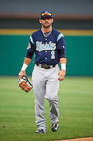Corpus Christi Hooks outfielder Andrew Aplin (1) during a game against the Arkansas Travelers on May 29, 2015 at Dickey-Stephens Park in Little Rock, Arkansas.  Corpus Christi defeated Arkansas 4-0 in a rain shortened game.  (Mike Janes/Four Seam Images)
