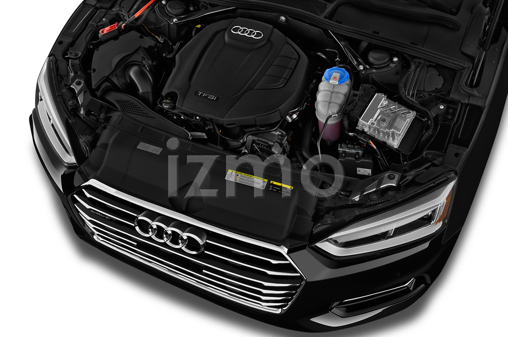 High angle detail view of 2019 Audi A5-Cabriolet Premium-Plus 2 Door Convertible Engine