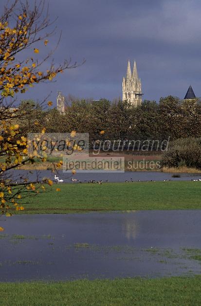 Europe/France/Normandie/Basse-Normandie/14/Calvados/Caen: La prairie et l'abbaye aux Hommes (Architecture romane et mauriste)