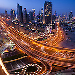 Downtown Dubai skyline at night. Dubai, United Arab Emirates.