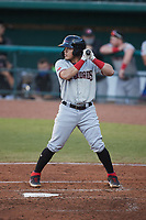 Frainyer Chavez (5) of the Hickory Crawdads at bat against the Greensboro Grasshoppers at First National Bank Field on May 6, 2021 in Greensboro, North Carolina. (Brian Westerholt/Four Seam Images)