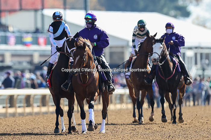 November 7, 2020 : Horses get ready for the Filly & Mare Sprint on Breeders' Cup Championship Saturday at Keeneland Race Course in Lexington, Kentucky on November 7, 2020. Wendy Wooley/Breeders' Cup/Eclipse Sportswire/CSM