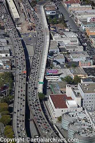 aerial photograph Yahoo! other billboards heavy traffic approach to San Francisco Oakland Bay Bridge San Francisco