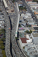aerial photograph Yahoo! other billboards heavy traffic approach to San Francisco Oakland Bay Bridge San Francisco