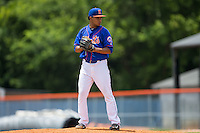 Kingsport Mets relief pitcher Yoryi Nuez (51) looks to his catcher for the sign against the Greeneville Astros at Hunter Wright Stadium on July 7, 2015 in Kingsport, Tennessee.  The Mets defeated the Astros 6-4. (Brian Westerholt/Four Seam Images)