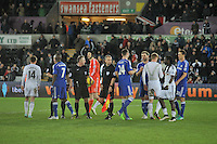 SWANSEA, WALES - JANUARY 17:   of  during the Barclays Premier League match between Swansea City and Chelsea at Liberty Stadium on January 17, 2015 in Swansea, Wales.
