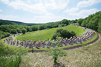 """peloton over le """"Petit Poggio"""" <br /> <br /> 2014 Belgium Tour<br /> stage 4: Lacs de l'Eau d'Heure - Lacs de l'Eau d'Heure (178km)"""