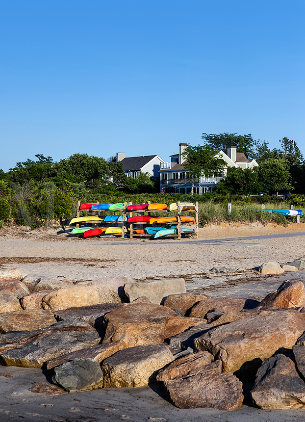 Kyaks at Paine's Creek Beach, Brewster, Cape Cod, Massachusetts, USA.