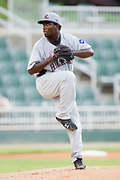 Starting pitcher Miguel De Los Santos #18 of the Hickory Crawdads in action against the Kannapolis Intimidators at Fieldcrest Cannon Stadium August 18, 2010, in Kannapolis, North Carolina.  Photo by Brian Westerholt / Four Seam Images