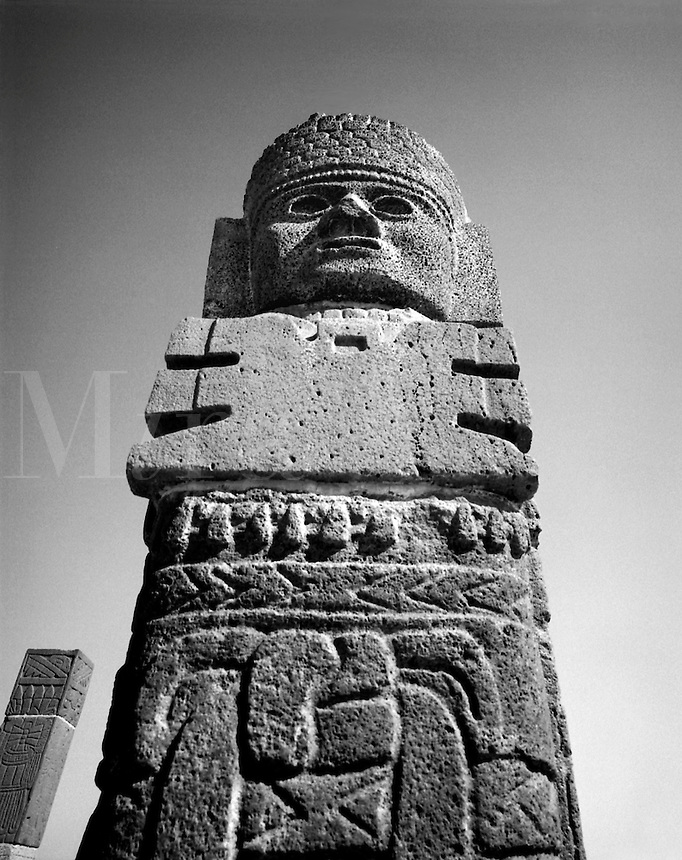 Toltec statue. One of the 4 female warriors known as The Atlanteans. Remnant of the Toltec Empire in Tula, Mexico. Tula, Hidalgo, Mexico.