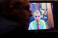 """United States Senator Rob Portman (Republican of Ohio)  participating remotely, directs a question to Mark A. Morgan, left, acting commissioner of the US Senate Homeland Security and Governmental Affairs Committee hearing titled """"CBP Oversight: Examining the Evolving Challenges Facing the Agency,"""" in Dirksen Senate Office Building on Thursday, June 25, 2020.<br /> Credit: Tom Williams / Pool via CNP/AdMedia"""