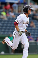 Designated hitter Niko Fraser (1) of the Elon Phoenix runs to first in a game against the Furman Paladins in a first-round Southern Conference playoffs game on Wednesday, May 22, 2013, at Fluor Field at the West End in Greenville, South Carolina. Furman won, 10-1. (Tom Priddy/Four Seam Images)