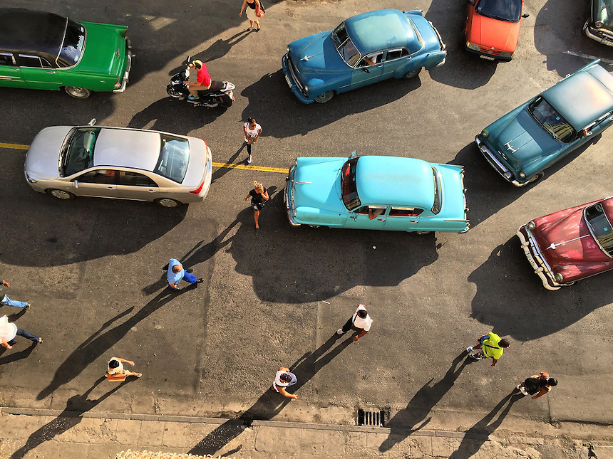 A traffic jam caused by the filming of Fast and Furious 8 in Havana's Chinatown. MARK TAYLOR GALLERY