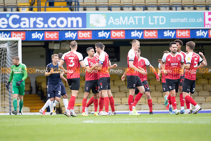 Cheltenham celebrate the opening goal scored by Liam Sercombe, Cheltenham Town during Southend United vs Cheltenham Town, Sky Bet EFL League 2 Football at Roots Hall on 17th October 2020