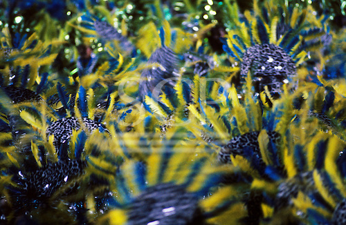 Rio de Janeiro, Brazil. Carnival samba school; pale yellow and blue feathers with leopard skin in movement.