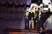 Bobbie York, Jerry York (BC - Head Coach), Brad Bates (BC - AD) - The Boston College Eagles defeated the visiting University of Wisconsin Badgers 9-2 on Friday, October 18, 2013, at Kelley Rink in Conte Forum in Chestnut Hill, Massachusetts.