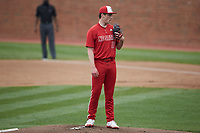 North Carolina State Wolfpack starting pitcher Sam Highfill (17) looks to his catcher for the sign against the North Carolina Tar Heels at Boshamer Stadium on March 27, 2021 in Chapel Hill, North Carolina. (Brian Westerholt/Four Seam Images)