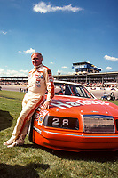 Cale Yarborough poses with his Ford Thunderbird after securing a front row starting spot for the 1985 Daytona 500 at Daytona International Speedway, Daytona Beach, FL, February1985. (Photo by Brian Cleary/bcpix.com)
