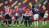 Brentford players congratulate Saman Ghoddos after scoring their second goal during Brentford vs Middlesbrough, Emirates FA Cup Football at the Brentford Community Stadium on 9th January 2021