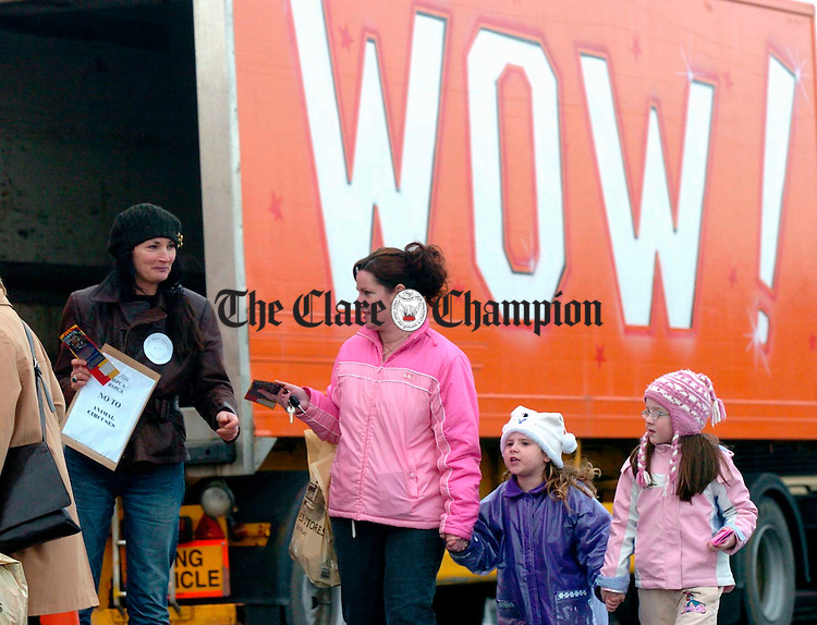 Kate Browne of Clare Animal Welfare  handing out literature during a protest against Animal Circuses during the visit of Circus New York to Ennis. Photograph by John Kelly.