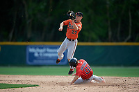 Baltimore Orioles Moises Nolasco (27) jumps for a throw as Cole Brannen (31) slides into second base during a Minor League Spring Training game against the Boston Red Sox on March 20, 2019 at the Buck O'Neil Baseball Complex in Sarasota, Florida.  (Mike Janes/Four Seam Images)
