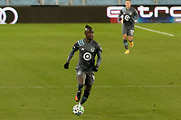ST PAUL, MN - NOVEMBER 22: Kei Kamara #16 of Minnesota United FC moves the ball during a game between Colorado Rapids and Minnesota United FC at Allianz Field on November 22, 2020 in St Paul, Minnesota.