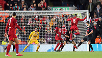 Liverpool's Georginio Wijnaldum scores the opening goal <br /> <br /> Photographer Rich Linley/CameraSport<br /> <br /> UEFA Champions League Round of 16 Second Leg - Liverpool v Atletico Madrid - Wednesday 11th March 2020 - Anfield - Liverpool<br />  <br /> World Copyright © 2020 CameraSport. All rights reserved. 43 Linden Ave. Countesthorpe. Leicester. England. LE8 5PG - Tel: +44 (0) 116 277 4147 - admin@camerasport.com - www.camerasport.com
