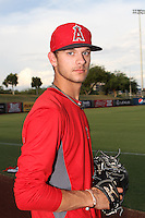 Hunter Green #64 of the AZL Angels before a game against the AZL Diamondbacks at Tempe Diablo Stadium on July 14, 2013 in Goodyear, Arizona. AZL Angels defeated the AZL Diamondbacks, 5-3. (Larry Goren/Four Seam Images)