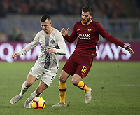 Football, Serie A: AS Roma - InterMilan, Olympic stadium, Rome, December 02, 2018. <br /> Inter's Ivan Perisic (l) in action with Davide Santon (r) during the Italian Serie A football match between Roma and Inter at Rome's Olympic stadium, on December 02, 2018.<br /> UPDATE IMAGES PRESS/Isabella Bonotto