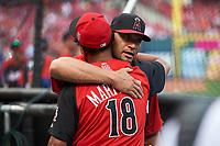 Los Angeles Angels Albert Pujols hugs St. Louis Cardinals Carlos Martinez during practice before the MLB All-Star Game on July 14, 2015 at Great American Ball Park in Cincinnati, Ohio.  (Mike Janes/Four Seam Images)