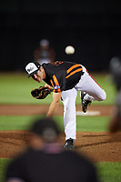 Aberdeen IronBirds relief pitcher Zach Matson (55) delivers a pitch during a game against the Staten Island Yankees on August 23, 2018 at Leidos Field at Ripken Stadium in Aberdeen, Maryland.  Aberdeen defeated Staten Island 6-2.  (Mike Janes/Four Seam Images)