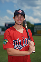 Elizabethton Twins Colton Burns (23) poses for a photo before a game against the Bristol Pirates on July 29, 2018 at Joe O'Brien Field in Elizabethton, Tennessee.  Bristol defeated Elizabethton 7-4.  (Mike Janes/Four Seam Images)
