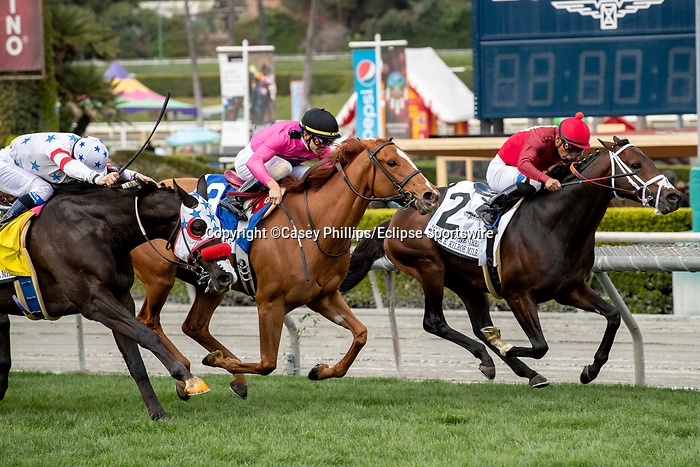 ARCADIA, CA  MARCH 7:  #2 River Boyne, ridden by Abel Cedillo, #3 Got Stormy, ridden by Tyler Gaffalione, and #4 Next Shares, ridden by Flavien Prat, in the stretch of the Frank E. Kilroe Mile (Grade l) on March 7, 2020, at Santa Anita Park in Arcadia, CA.(Photo by Casey Phillips/Eclipse Sportswire/CSM