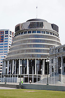 """Wellington, New Zealand.  Prime Minister's Office Building, """"The Beehive."""""""