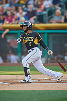 Luis Rengifo (5) of the Salt Lake Bees bats against the El Paso Chihuahuas at Smith's Ballpark on August 13, 2018 in Salt Lake City, Utah. Salt Lake defeated El Paso 4-3. (Stephen Smith/Four Seam Images)