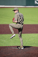Vanderbilt Commodores receiver Luke Murphy (50) throws a pitch against the South Carolina Gamecocks at Hawkins Field in Nashville, Tennessee, on March 21, 2021. The Gamecocks won 6-5. (Danny Parker/Four Seam Images)