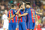 FC Barcelona's Munir El Haddadi, Arda Turan and Andre Gomes celebrate goal during Supercup of Spain 2nd match.August 17,2016. (ALTERPHOTOS/Acero)